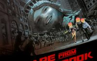 Modified Escape from New York movie poster, featuring Zuckerberg as the statue of Liberty.