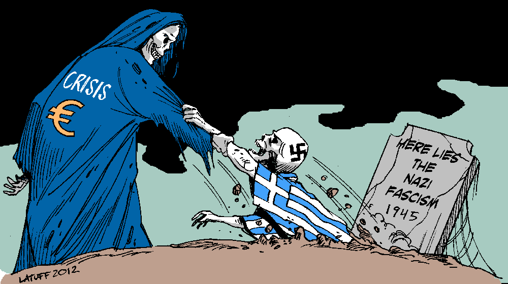 Cartoon by Carlos Latuff showing a grim reapear represeting the euro crisis pulling the skeleton of fascism from the grave.