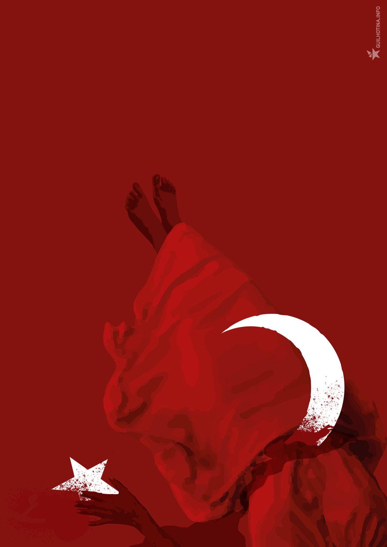 Ilustração de corpo de mulher trespassado pelo crescente da bandeira turca.