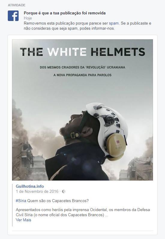 Post da Guilhotina no Facebook sobre os Capacetes Brancos que foi eliminado.