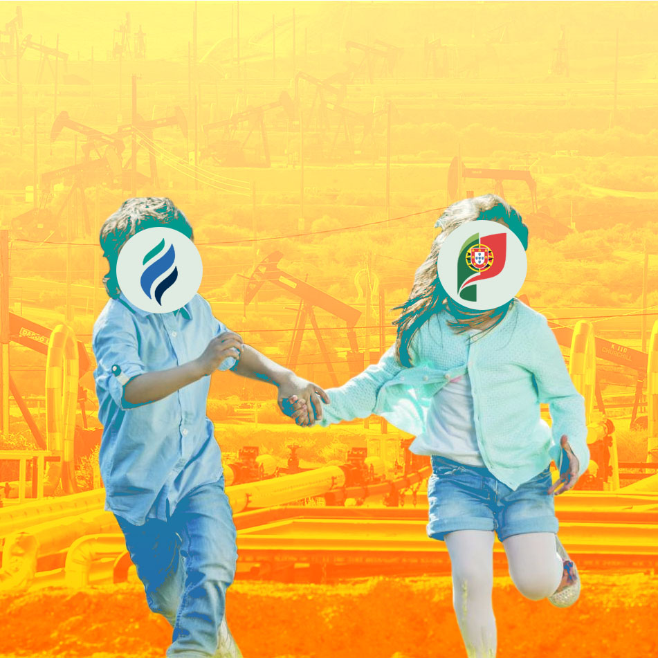 Two children with logos of Australis and the Portuguese State for faces running amidst an oil field.