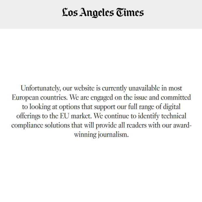 Screenshot of LA Times regional block for European users.