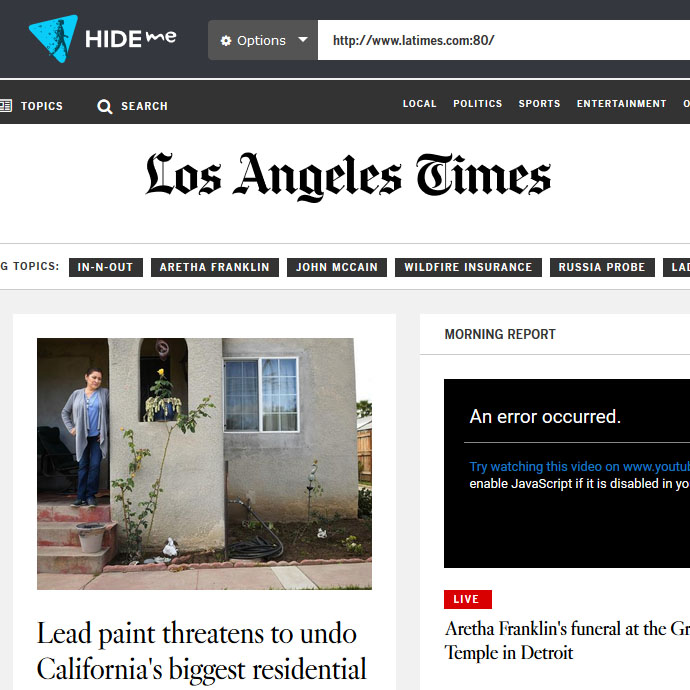 Screenshot of the LA Times being accessed via proxy.