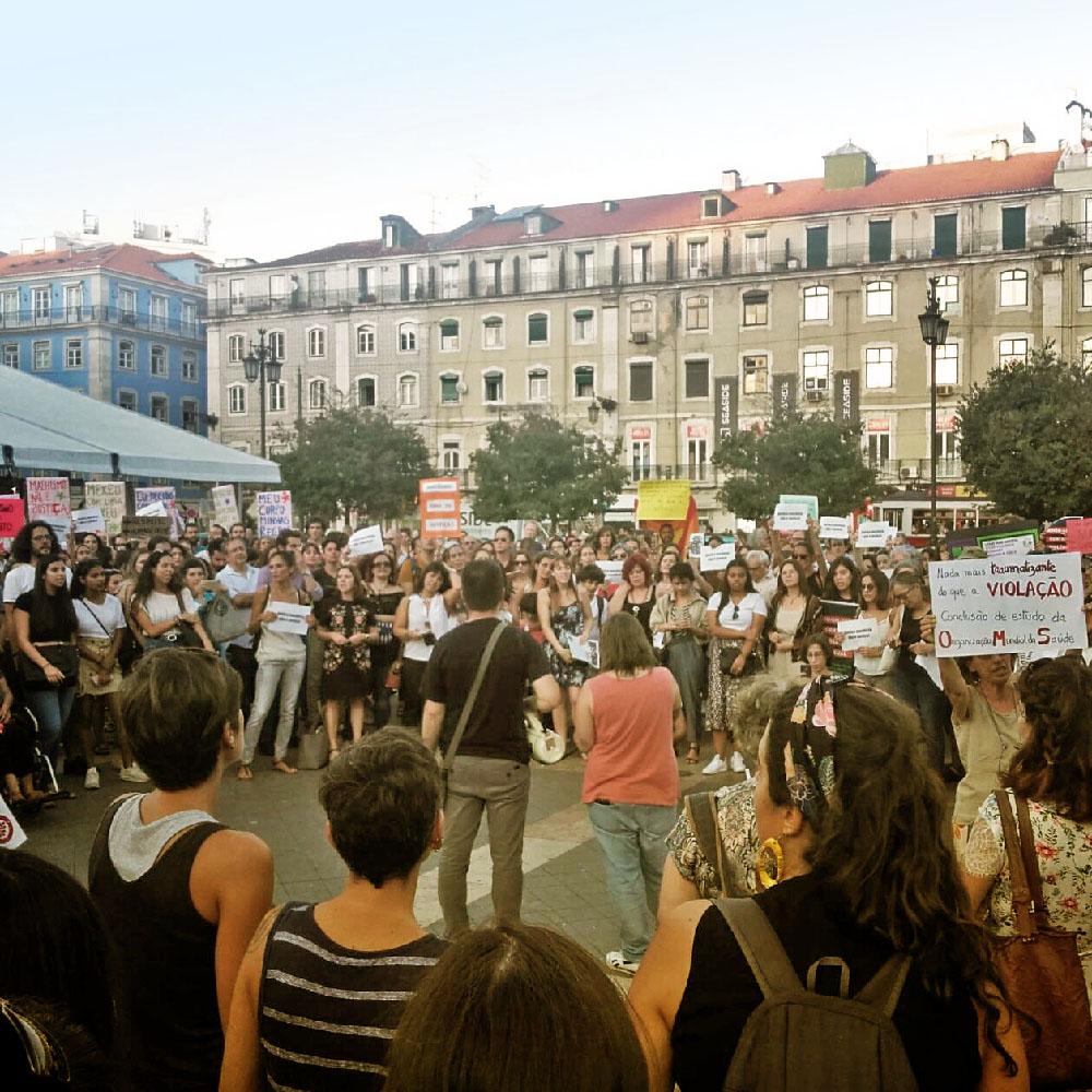 Feminist protest in Lisbon.