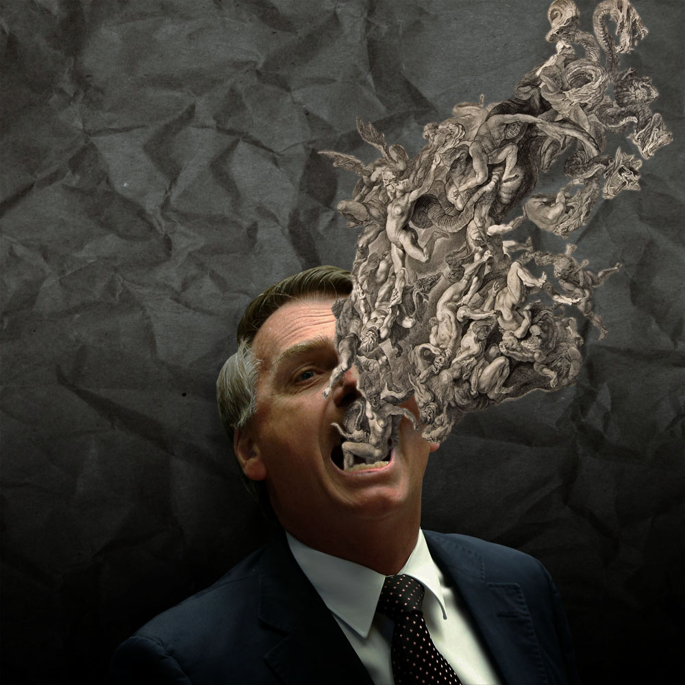 PSL candidate Bolsonaro with a drawing of the damned by Reubens coming out of his mouth.