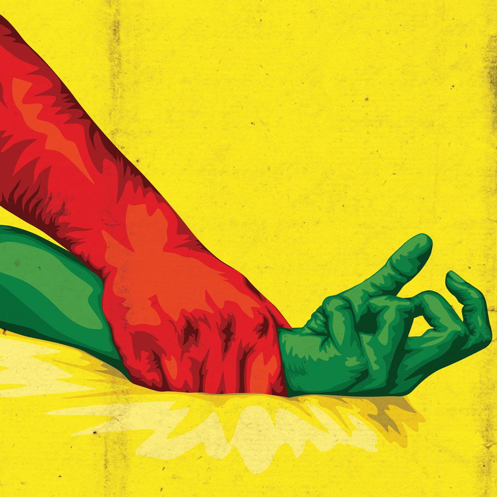 Male hand forcing down female arm by the wrist in red, green and yellow, the Portuguese flag colors.