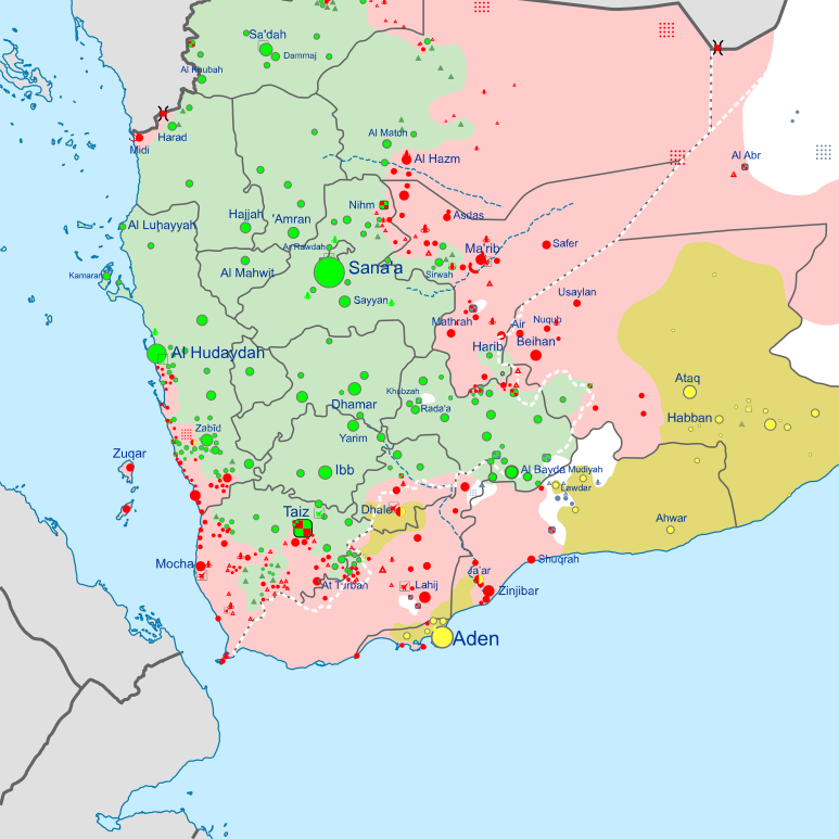 Detail of control map of Yemen war focusing on Sana.