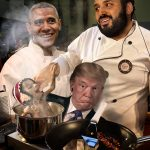 Mohammed bin Salman, Obama and Trump cooking a starving Yemeni child.