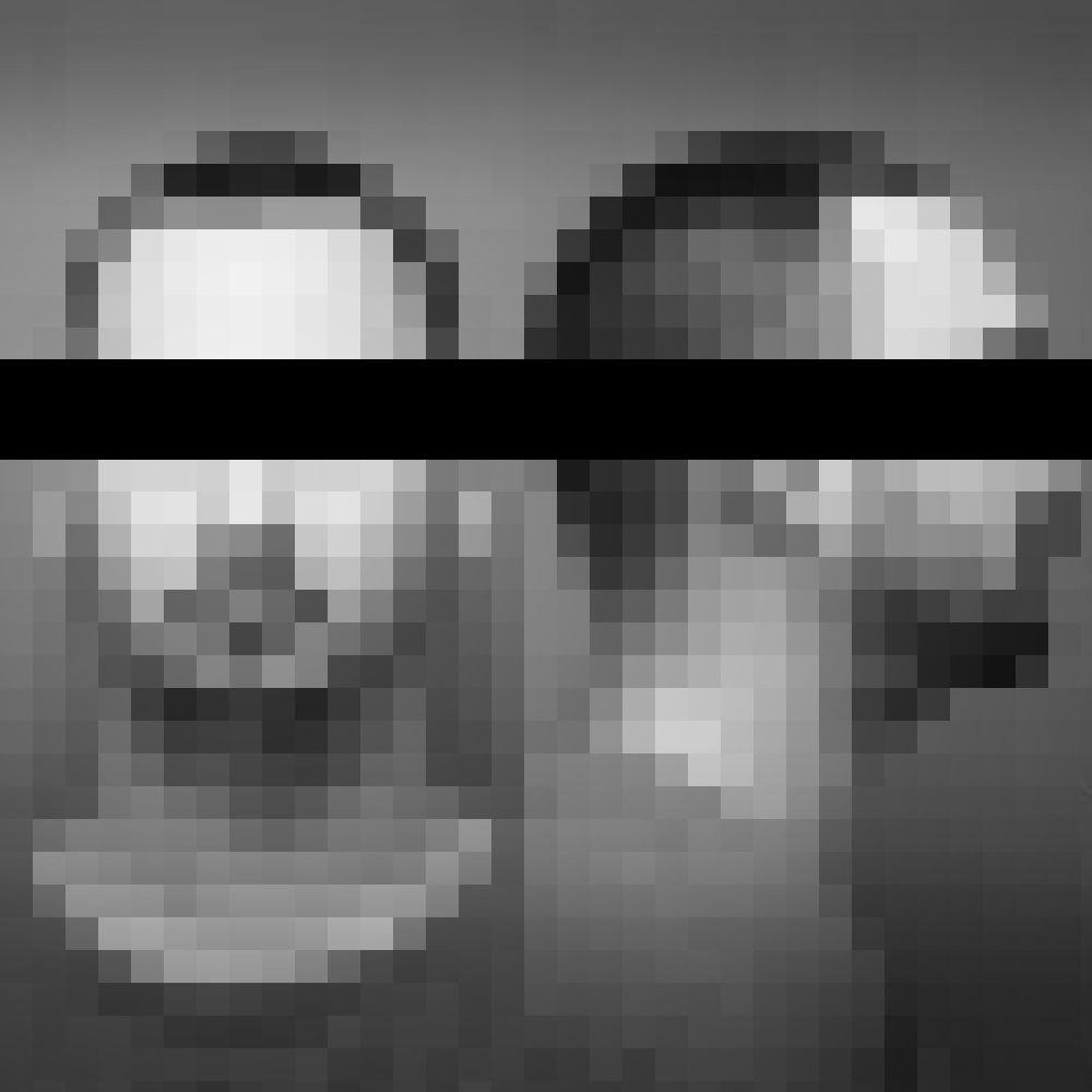 Pixelated black and white picture of detainee with a black stripe covering his eyes.