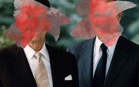 Reagan and Bush side by side, red paint in an X over their faces.