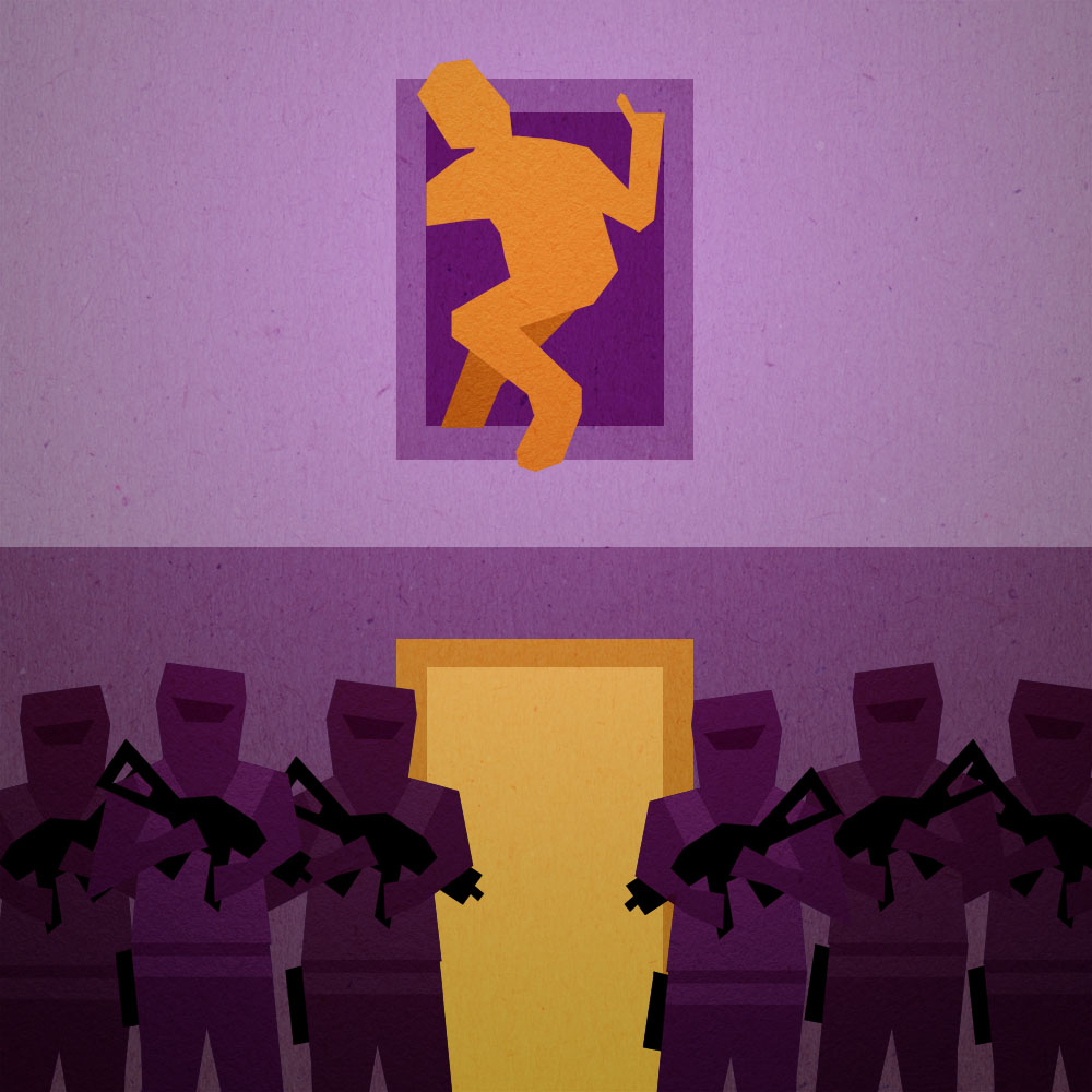 Illustration of man escaping from window while armed police enter through the door.