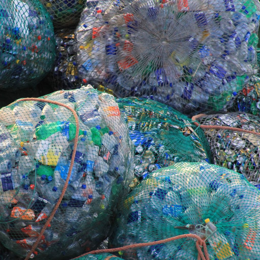 Plastic waste in bags.