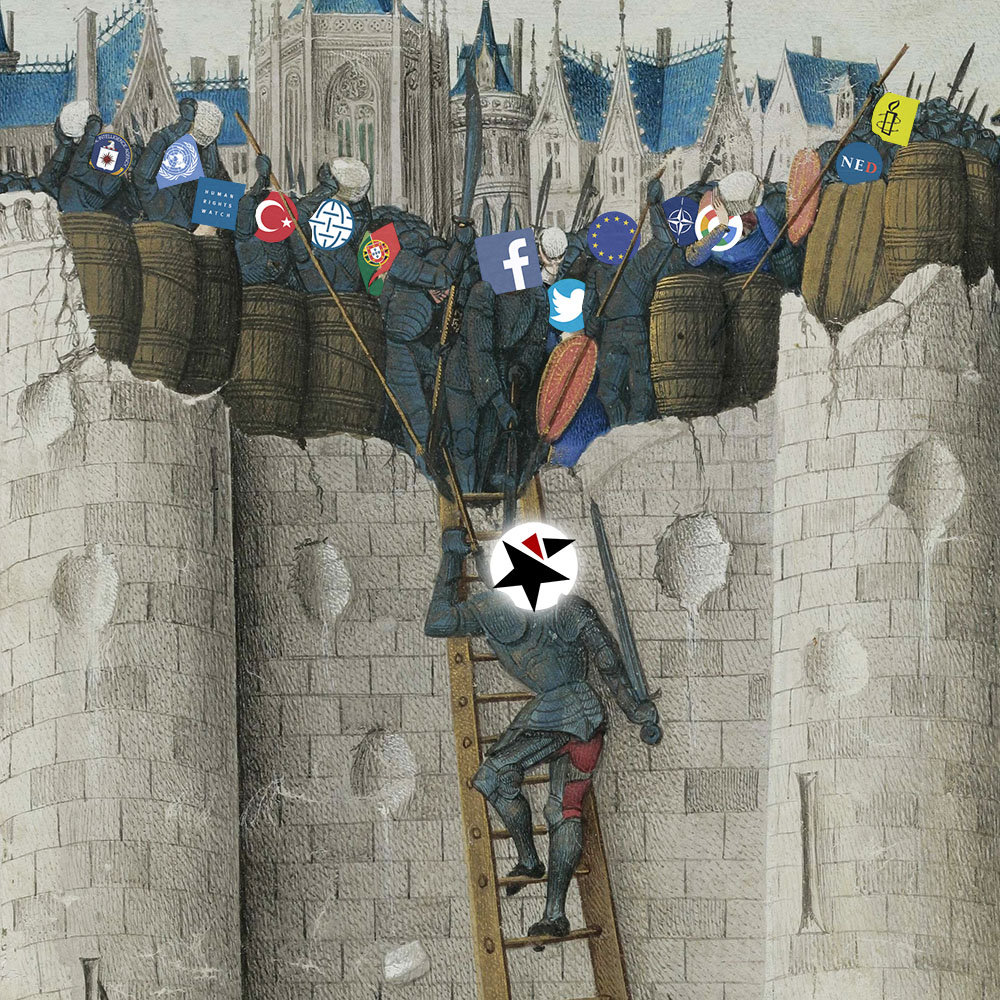 Medieval painting of knight climbing city walls with others throwing rocks at him from above.