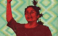 Illustration of indigenous woman with raised right fist.